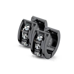 Černé ocelové náušnice kruhy se zirkony