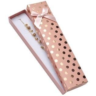Dárková krabička na náramek, růžová se zlatými puntíky