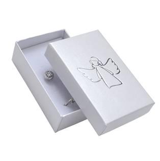 Bílá dárková krabička na soupravu, stříbrný anděl