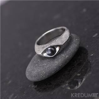 Damasteel prsten Gracia kolečka s perlou, vel. 47