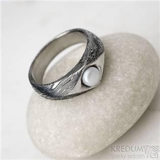Damasteel prsten Gracia voda s perlou, vel. 47