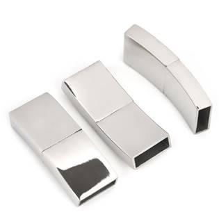 Ocelový uzávěr na náramek, lesklý povrch, 15 x 3 mm