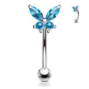 Piercing do obočí motýlek, tyrkysové zirkony