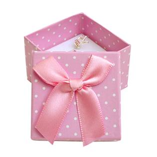 Dárková krabička na prsten růžová - bílé puntíky