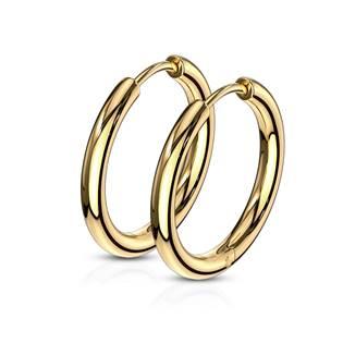 Zlacené ocelové náušnice - kruhy 17 mm