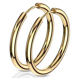 Zlacené ocelové náušnice - kruhy 25 mm