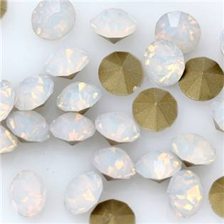 Skleněný šaton SS12- 3,2 mm, 10ks/bal., White Opal