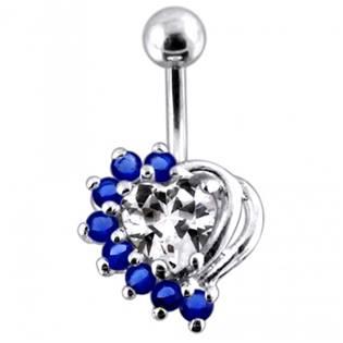 Stříbrný piercing do pupíku, čiré/tmavě modré zirkony
