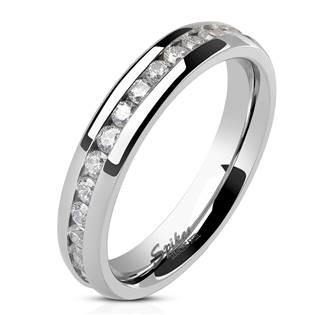 Ocelový prsten se zirkony, šíře 4 mm, vel. 57,5