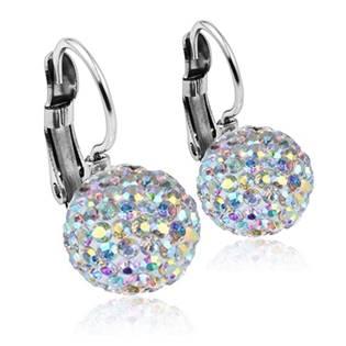 Ocelové náušnice koule 10 mm Crystals from Swarovski® AB