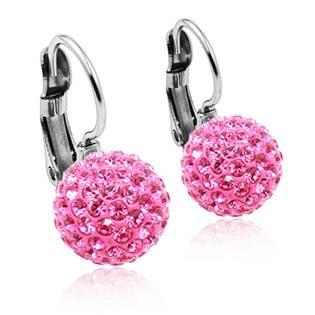Ocelové náušnice koule 10 mm Crystals from Swarovski® Pink