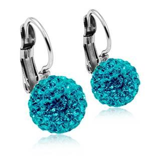 Ocelové náušnice koule 10 mm Crystals from Swarovski® Aqua