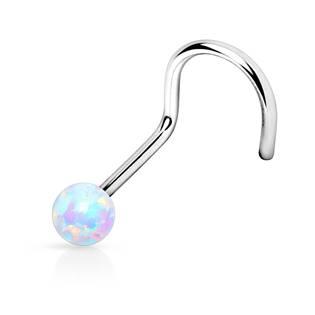 Zahnutý piercing do nosu opál