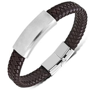 Hnědý kožený náramek s ocelovou destičkou