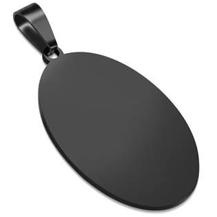 Ocelový přívěšek - oválná destička 20 x 33 mm