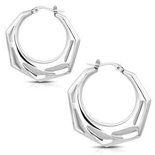 Ocelové náušnice kruhy hranaté