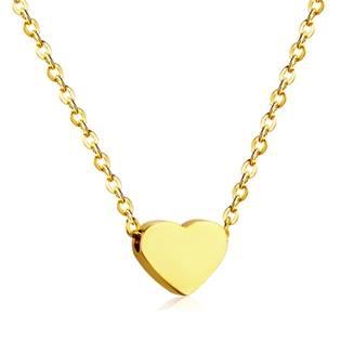 Zlacený ocelový řetízek s přívěškem srdce
