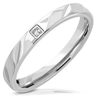 Prsten ocel zirkon, šíře 5 mm