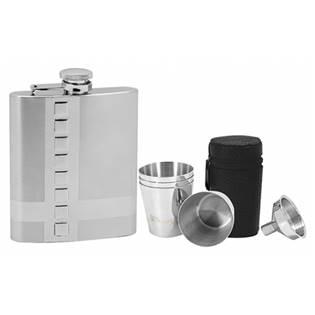 Ocelová kapesní lahev - placatka 220ml + 4 kalíšky 30ml a trychtýřek