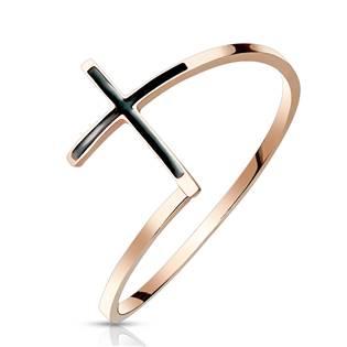 Ocelový prsten kříž zlacený