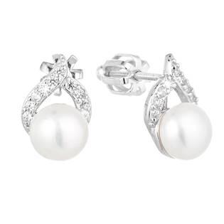 Stříbrné náušnice s bílou říční perlou