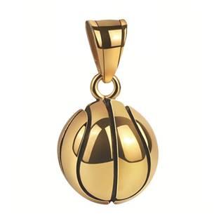 Zlacený ocelový přívěšek -  basketbalový míč