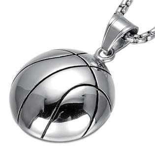 Ocelový přívěšek -  basketbalový míč velký