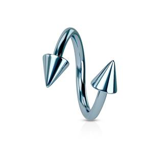 Piercing spirála světle modrá 1,2 x 10 mm