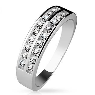 Rhodiovaný prsten se zirkony, vel. 51
