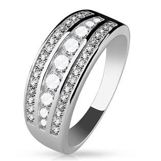 Rhodiovaný prsten se zirkony, vel. 52
