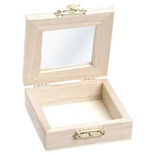 Malá dřevěná krabička s proskleným víčkem