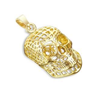 Ocelový přívěšek - zlacená lebka drátěná