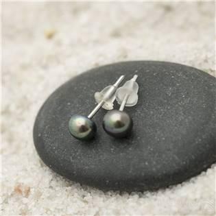 Ocelové náušnice s černými perlami 5 mm