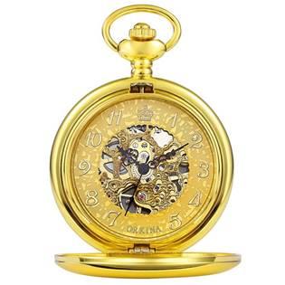 Mechanické zlacené kapesní hodinky otevírací - cibule