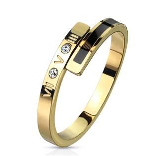 Zlacený ocelový prsten se zirkonem, vel. 55