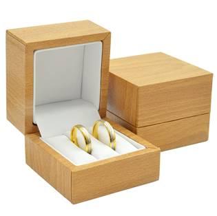 Plastová krabička na snubní prsteny - imitace dřeva