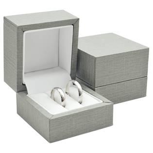 Plastová krabička na snubní prsteny - imitace  šedé kůže