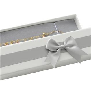 Dárková krabička na náramek, bílá se šedou mašlí