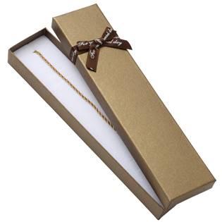 Dárková krabička na soupravu šperků, hnědá s hnědou mašlí