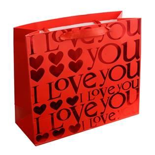 Dárková taška červená se srdíčky a textem LOVE