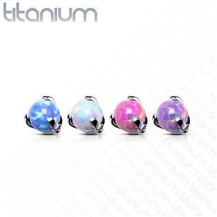 Náhradní kamínek k labretě TITAN s opálem, závit 1,2 mm