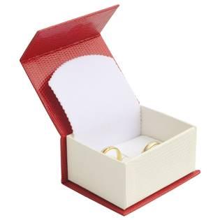 Červená dárková krabička na snubní prsteny magnetické zavírání