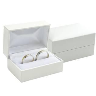 Bílá koženková krabička na snubní prsteny