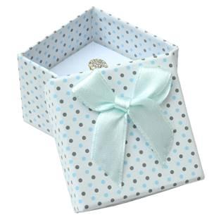 Dárková krabička na prsten bílá - šedé a modré puntíky