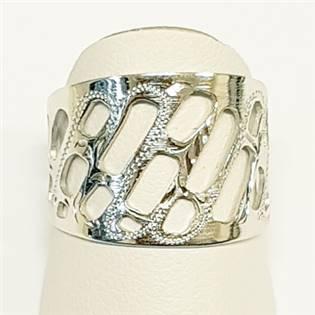 Stříbrný prsten s děrováním, vel. 54