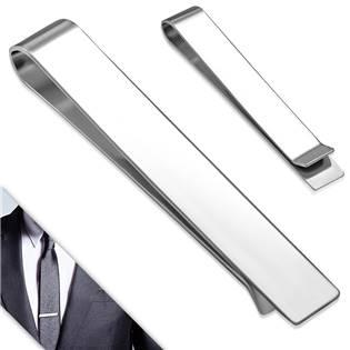 Spona na kravatu z chirurgické oceli - lesklá, rozměr 48 x 8 mm