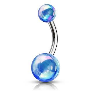Piercing do pupíku - kovový lesk, barva: modrá