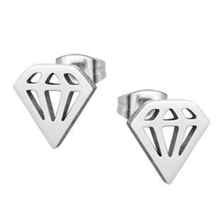 Ocelové náušnice diamanty