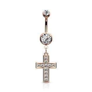 Zlacený piercing do pupíku - křížek čiré zirkony