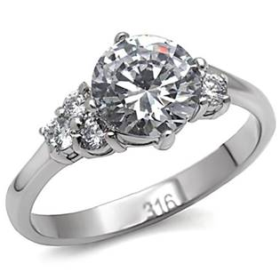 Ocelový prsten se zirkony, vel. 50